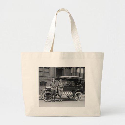 Antique Car Girls, 1920s Jumbo Tote Bag