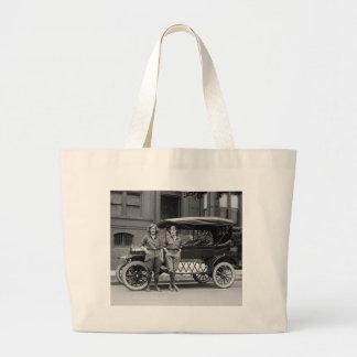 Antique Car Girls, 1920s Large Tote Bag
