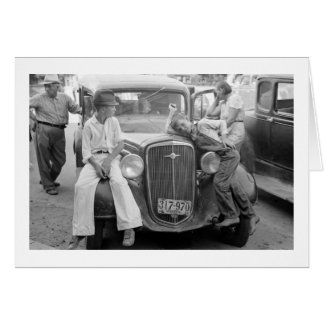 Antique Car, Great Depression Family, 1930s Card