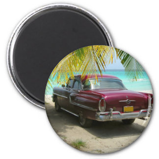 Antique car in Cuba beach Magnet