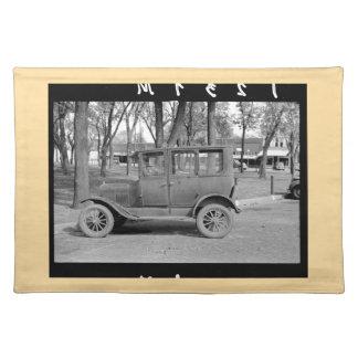 Antique Car Placemat (tan border)