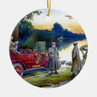 Antique Car Plane People nature painting Christmas Ornaments