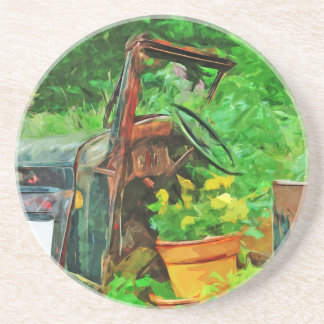 Antique Car Planter Abstract Impressionism Coaster