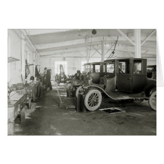 Antique Car Repair Garage, early 1900s Greeting Card