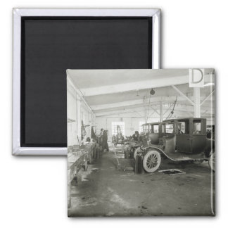 Antique Car Repair Garage, early 1900s 2 Inch Square Magnet