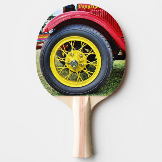 Antique car tire ping pong paddle