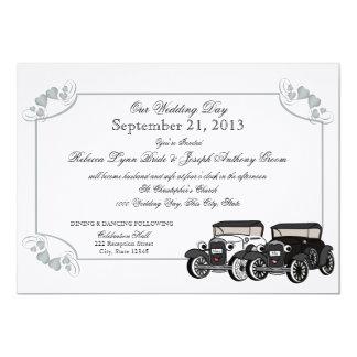 """Antique Car Wedding 5"""" X 7"""" Invitation Card"""