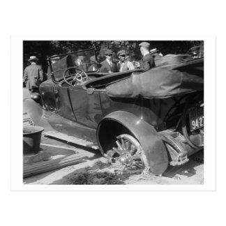 Antique Car Wreck 1918 Postcard