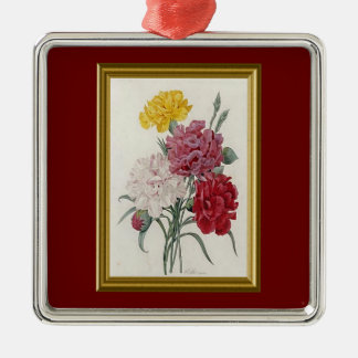 Antique Carnations In A Golden Frame Metal Ornament