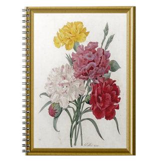 Antique Carnations In A Golden Frame Spiral Notebook