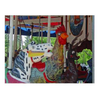 Antique Carousel Animals Postcard