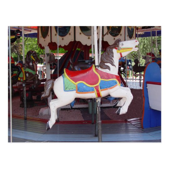 Antique Carousel Horse Postcard
