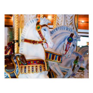 Antique Carousel Horses Photography Post Card