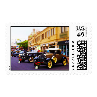 Antique Cars on Display at Country Club Plaza KC Postage Stamp