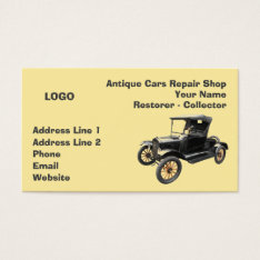 Antique Cars Repair Shop Collector 2 Business Card at Zazzle