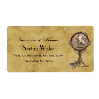 Antique Celestial Globe Distressd BG H Water Label