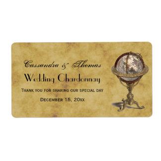 Antique Celestial Globe Distressed BG H Wine Label
