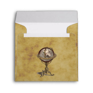 Antique Celestial Globe Distressed BG SQ Envelope