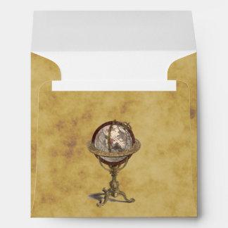 Antique Celestial Globe Distressed BG SQ Envelope