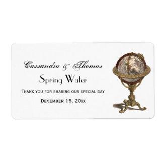 Antique Celestial Globe White BG H Water Label