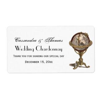 Antique Celestial Globe White BG H Wine Label