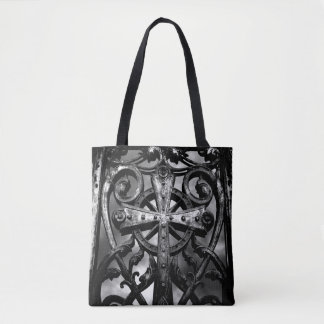 Antique celtic cross picture tote bag