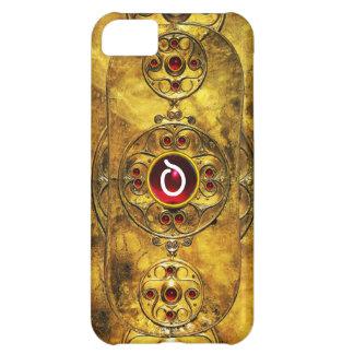 ANTIQUE CELTIC WARRIOR SHIELD RUBY GEM  MONOGRAM COVER FOR iPhone 5C