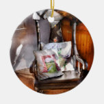 Antique - Chair - Grannies rocking chair Double-Sided Ceramic Round Christmas Ornament