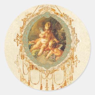 Antique Cherub Ornate Art Design Stickers Tags