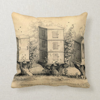 Antique Chic Beekeeping Beehive print Pillow