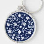 Antique Chinese Blue & White Mandala Key Chain