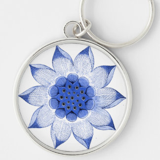 Antique Chinese Blue & White Mandala Keychain