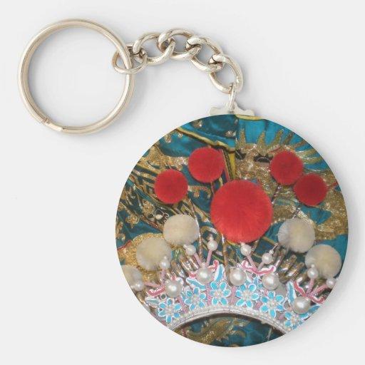 antique chinese headress basic round button keychain