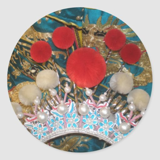 antique chinese headress classic round sticker