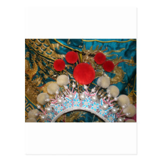 antique chinese headress postcard