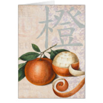 Antique Chinese Oranges Vintage Collage Card