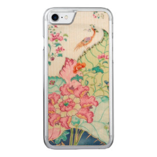 Antique chinoiserie china porcelain bird pattern carved iPhone 7 case