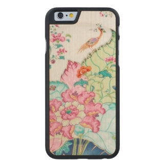 Antique chinoiserie china porcelain bird pattern carved maple iPhone 6 slim case