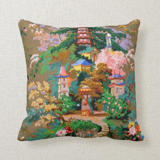 Antique Chinoiserie Design Pagoda Pillow