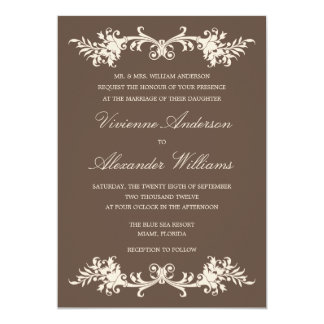ANTIQUE CHOCOLATE    WEDDING INVITATION