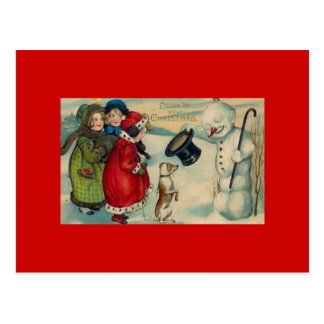 Antique Christmas Card On Red Background Postcard