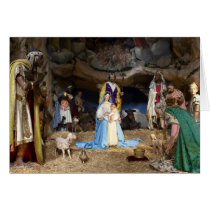 Antique Christmas Nativity Scene Card