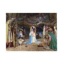 Antique Christmas Nativity Scene Doormat