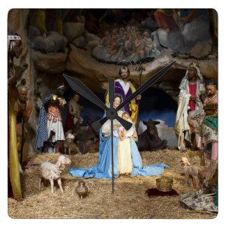 Antique Christmas Nativity Scene Square Wall Clock