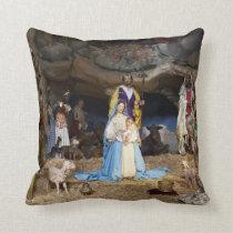 Antique Christmas Nativity Scene Throw Pillow