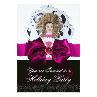 Antique Christmas Paper Carving with Pink Bow Card