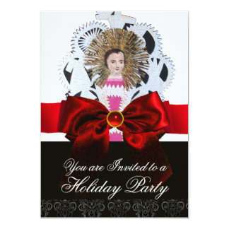 Antique Christmas Paper Carving with Red Bow Card