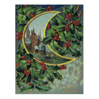 Antique Christmas Post Card-Holly & Crescent Moon Postcard