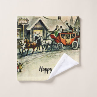 Antique Christmas Vintage Happy Holidays Carriage Wash Cloth