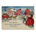 Antique Christmas Vintage New Year Carriage Card